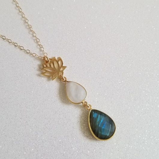 Gold Lotus Flower Necklace With Moonstone And Labradorite Fabulous