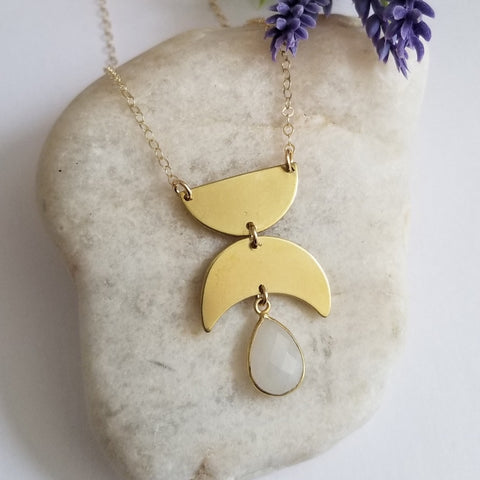 Gold Geometric Moonstone Pendant Necklace, Boho Style Statement Necklace