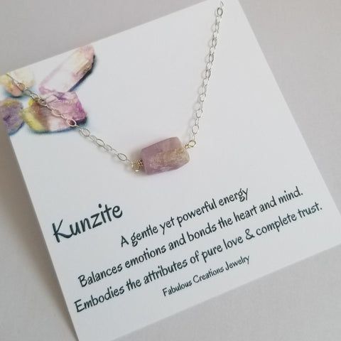 Healing Crystal Necklace, Kunzite Necklace for women