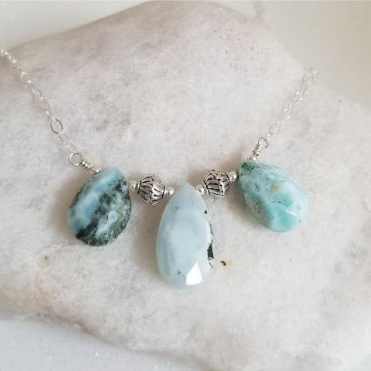 Natural Gemstone Teardrop Bib Necklace, Larimar Sterling Silver