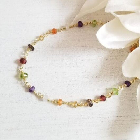 Dainty Multi Gemstone Beaded Bracelet