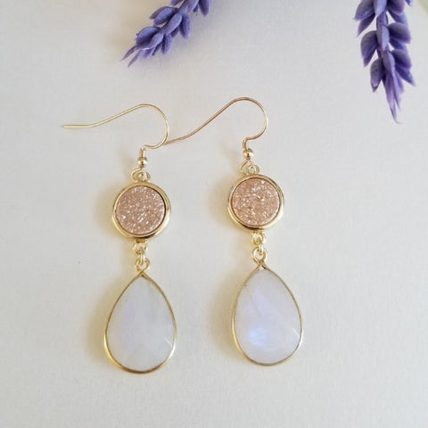 Natural Druzy Crystals and Moonstone Statement Earrings