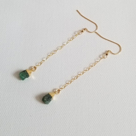 Raw Emerald Earrings, Delicate Gold or Silver Earrings