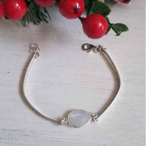 Sterling Silver Skinny Gemstone Bangle, Labradorite or Moonstone