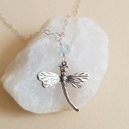 Dragonfly Birthstone Necklace, Sterling Silver, Birthday Gift