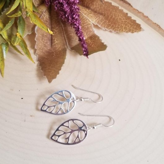 silver leaf earrings, jewelry inspired by nature