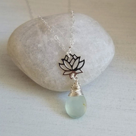 Sterling Silver Lotus Flower Gemstone Pendant Necklace