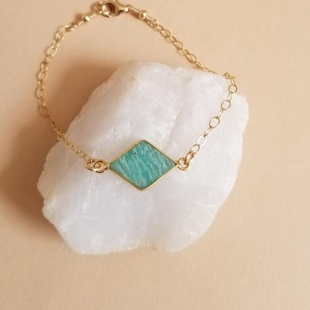 Thin Gold Amazonite Bracelet, Layering Bracelet
