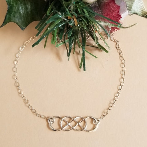 Thin Silver Infinity Bracelet, Christmas Gift Idea for Her