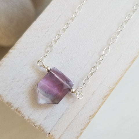 Rainbow Fluorite Crystal Necklace, Sterling Silver or Gold