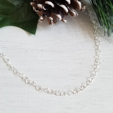 thin heart chain, sterling silver chain, gift for friend