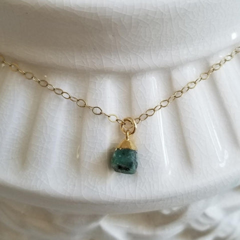 Dainty Raw Emerald Necklace, Gold Filled or Sterling Silver