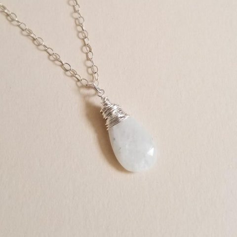 Natural Moonstone Solitaire Pendant Necklace