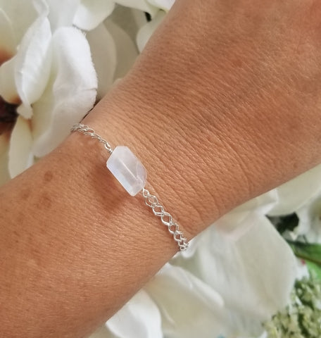 Natural Moonstone Bracelet in Sterling Silver