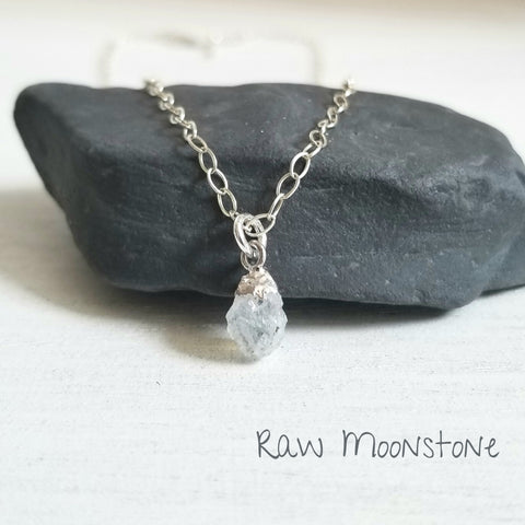 Dainty Raw Moonstone Necklace