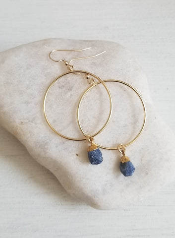 Bohemian wedding jewelry, Gold Gemstone Hoops