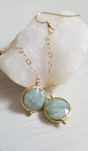 Gold Aquamarine Earrings, Dainty Gold Earrings, Gift for her, Modern Bohemian