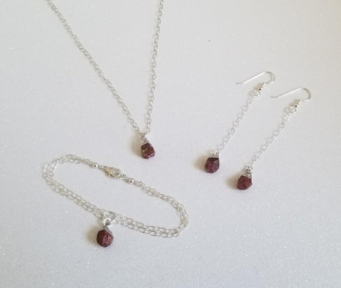 Raw Ruby jewelry, handmade jewelry, Fabulous Creations Jewelry, dainty jewelry