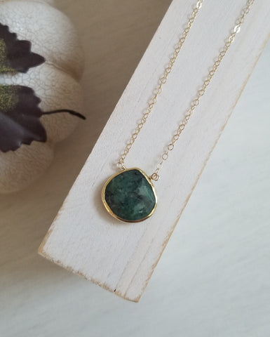 Gold Emerald Pendant Necklace for Women