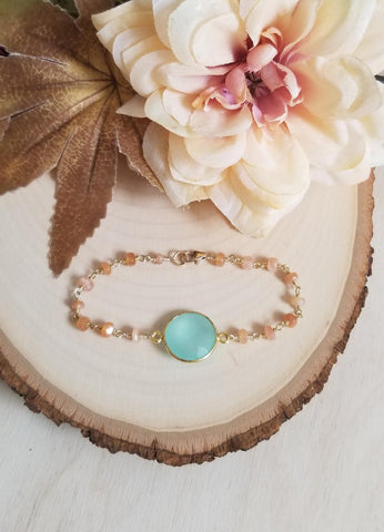 handmade gemstone jewelry, moonstone and aqua bracelet, rosary chain