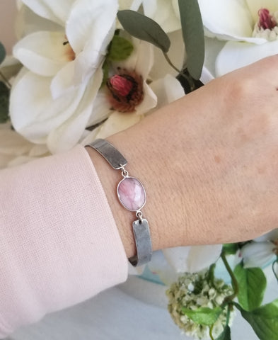 Pink Opal Bangle Cuff, Gift for Her, October Birthstone
