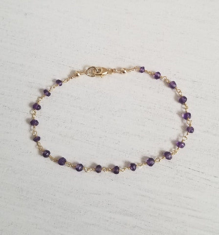Thin gemstone beaded bracelet, birthday gift idea
