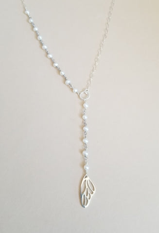 Dainty Freshwater Pearl Y Necklace with Butterfly Wing
