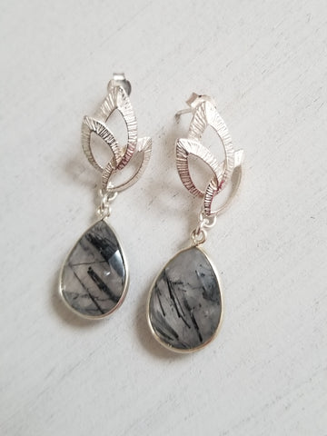 Sterling Silver Black Rutilated Quartz Statement Earrings