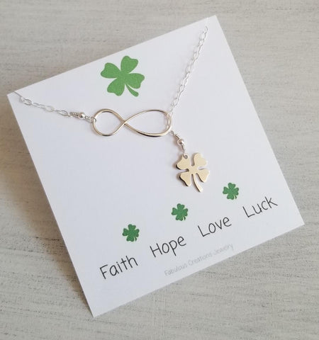 Good Luck Charm Necklace, Four Leaf Clover Lariat