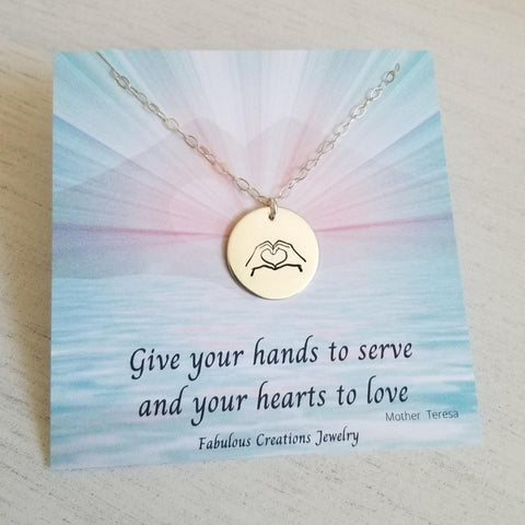 Hand Gesture Heart and Hands Symbol Necklace