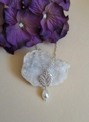 Sterling Silver Angel Wings and Pearl Necklace