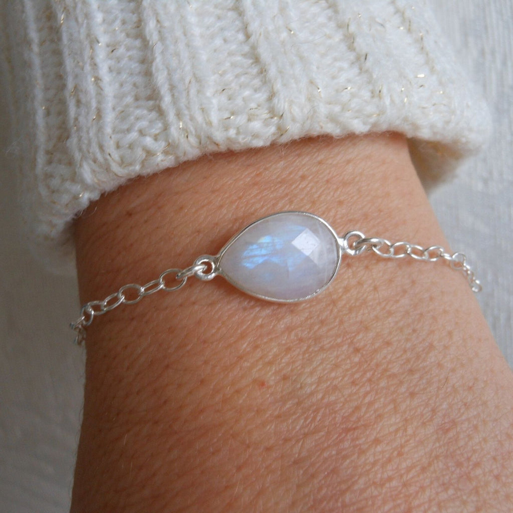Bridesmaid Bracelet, Sterling Silver Moonstone Bracelet, Thank You Gift Bridesmaid
