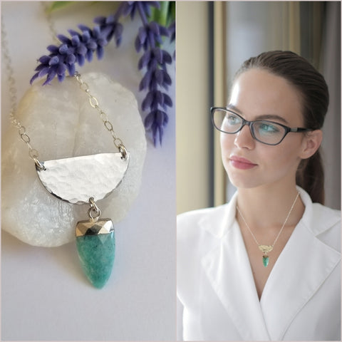 Half Moon Amazonite Pendant Necklace, Everyday Statement Necklace