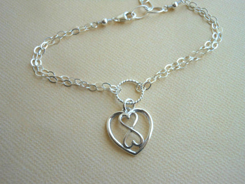 Sterling Silver Infinity Heart Bracelet, Gifts for Bridesmaids
