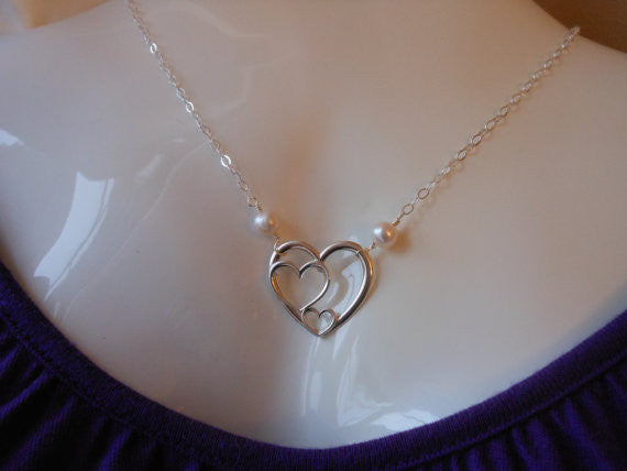 Sterling Silver Hearts Necklace, Mother of the Bride Gift,Wedding