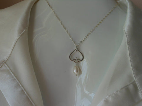 Sterling Silver Pearl Necklace, Gift for Mother of the Groom, Wedding