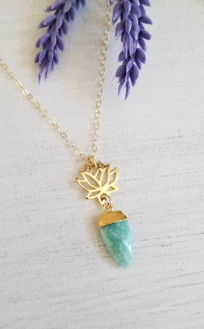 Gold Lotus Flower and Amazonite Pendant Necklace