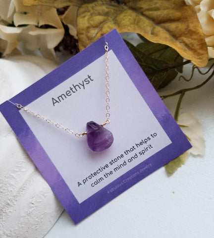 Raw Natural Amethyst Necklace, Dainty Necklace, February Birthstone