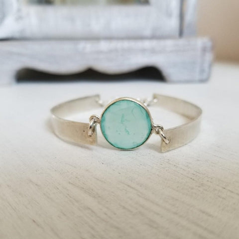 silver bangle, aqua chalcedony bangle bracelet, gift for women