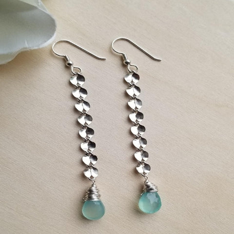 long aqua earrings, tiny petal earrings, sterling silver handmade earrings