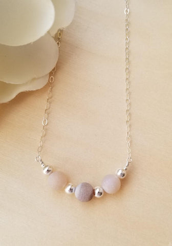 sterling silver necklace with druzy beads, gift for women, boho wedding