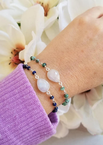 gemstone bracelets, stacking bracelets, gift for her, handmade bracelets in the USA