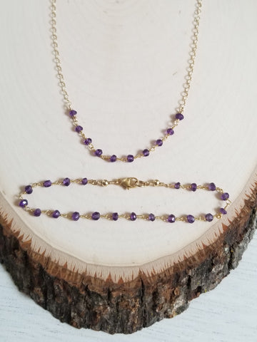 Handmade Amethyst Necklace and Bracelet