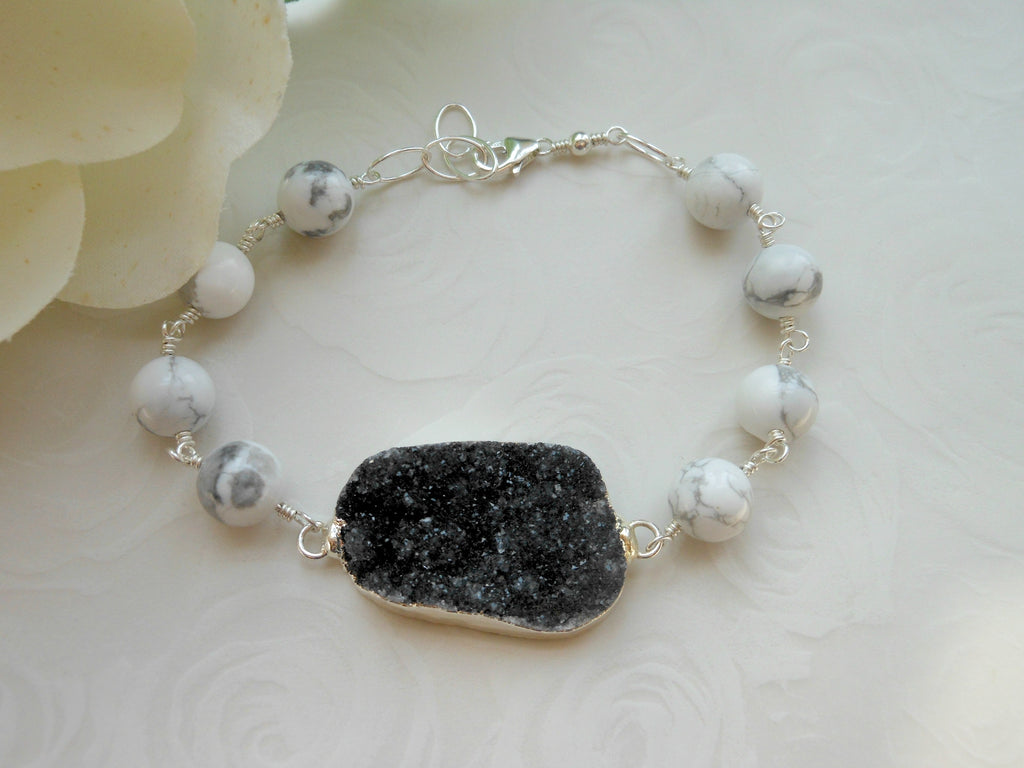 black druzy, black and white fashion, one of a kind bracelet
