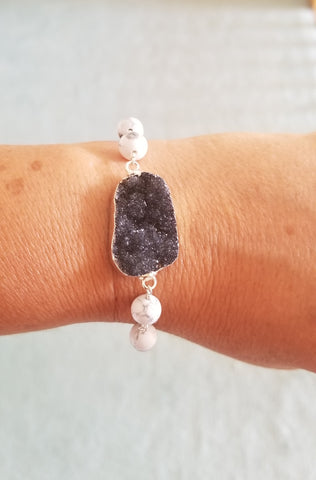 Black Druzy and Howlite Bracelet, One of a Kind Bracelet