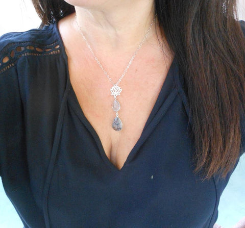 Black Rutilated Quartz Lotus Flower Pendant Necklace