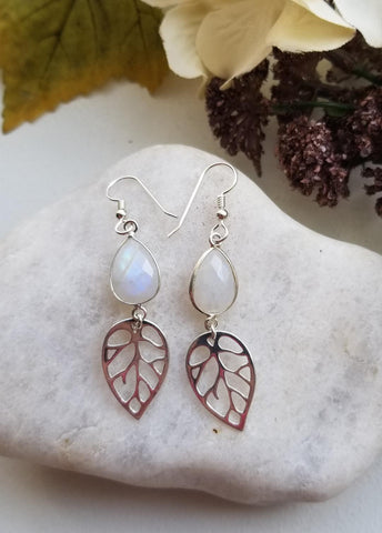 Silver Leaf and Moonstone Earrings, Fall Wedding, Statement Earrings