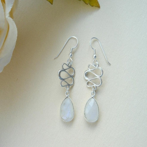Modern Design Moonstone Dangle Earrings