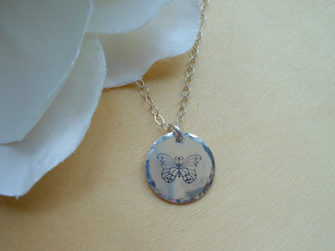 Butterfly Charm Necklace in Sterling Silver