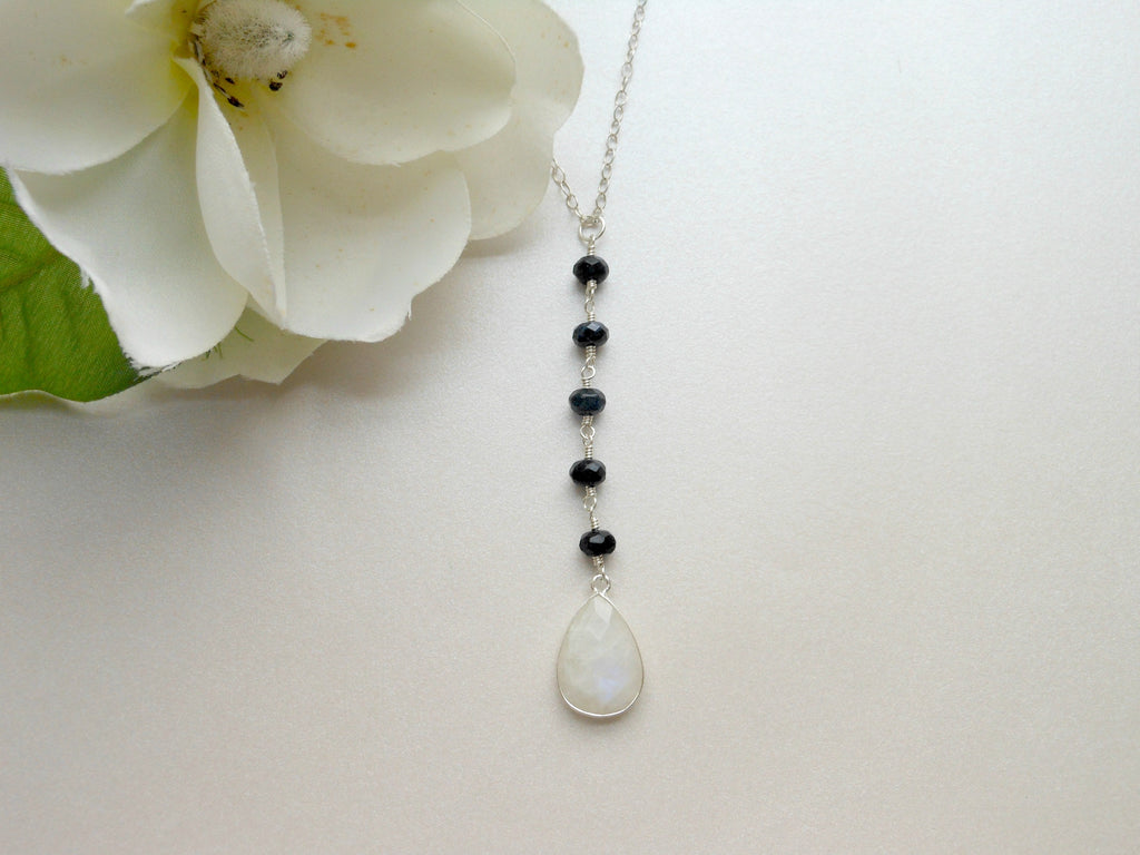 sapphire necklace, long center drop necklace, Moonstone